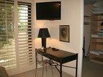 Desk in Twin Bedroom with walk in closet