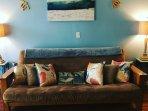 Brand new high-quality futon, turns into sofa-bed, sleeps 2