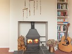 cosy wood burners in both lounges downstairs for the colder months at The Pink House Lulworth