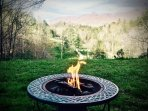 Photo of fire pit and Mountain Views beyond. (Compliments of Guests 3/2017)