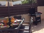 Enjoy outdoor dining cooking on the gas BBQ