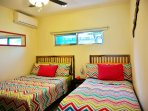 Bedroom 2 (one double/matrimonial bed, one single bed, a/c, ceiling fan)