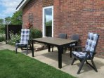 Patio furniture and outside dining area.