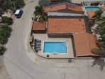 Drone view of neighbourhood                  Drone aerial view       Drone view of the villa