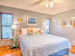 Enjoy Holiday Dreams in the Whimsical 'Beach Bedroom' with comfy King Sized bed.