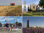 1 Red Hut Rye Harbour Nature Reserve. 2 Rye Citadel 3 Rye river 4 Old Lighthouse Dungeness to climb