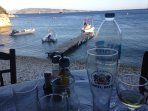 Refreshments from the local beach Taverna at Kerasia...