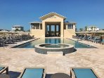 Beach Club with heated pool, hot tub, bar/grill service and beach access