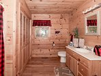 main level full bath with shower / tub combo