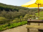 Overlooking the East Looe River valley and our lake from the private outside  space.
