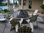 Outdoor fire pit by main swimming pool