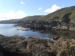 Lansallos Cove - beautiful hidden cove and beach at the end of a pretty woodland walk.