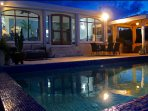 Night time is fantastic at Villa Bliss with soft solar lighting to enhance the magical atmosphere