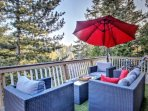 Enjoy peace & serenity as you relax on the deck w/ fresh mountain air and views of tall pine trees.