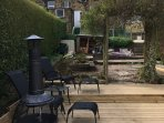 The cottage has a large sunny decking area with garden furniture and lovely views over the valley