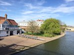 One of Cambridge's boathouses,200 yards from the apartment