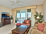 Living Room with Flat Screen TV; Ample Seating and Couches; Pullout Couch; Views From Balcony!