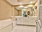 Master Bathroom with Walk in Shower and Spa Tub; Double Vanity!