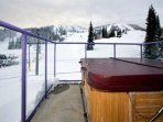 Roof Top Hot tub with the view of the chairlift on the left. Best Ski in Ski Out!