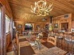 The spacious unit boasts beautiful decor and comfortable furnishings.
