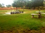 Outdoor large chess set by communal airea