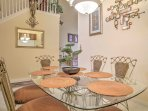 Enjoy home-cooked meals at the formal dining table that seats 6.