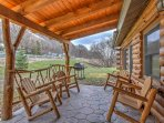 Enjoy the peace and quiet this cabin offers from the front porch.