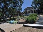 Back of the house facing the lake, private dock + lakeside patio. Pine Mountain Lake Lakefront Sierra Lakeshore Escape...