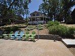 Back of the house facing the lake, lakeside patio. Pine Mountain Lake Lakefront Sierra Lakeshore Escape Unit 4 Lot 109...