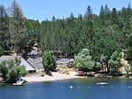 Zoomed view of the Lake Lodge Beach, just across the lake from Pine Mountain Lake Lakefront Sierra Lakeshore Escape...
