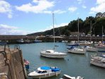 Drive a few minutes down the hill and park at Saundersfoot harbour. Adjoining beaches are beautiful.