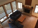 Great room with lots of windows and gas fireplace
