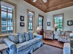 Big Thyme Carriage House is cozy and comfortable for a small family.