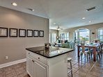 The kitchen is open to the living area, so you can talk to your crew while you prepare dinner