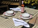 Outside dining is the best way to make the most of our self-catering cottage surroundings.