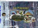 Site Map du Papayer : Grande case, cuisines, indépendante, cabanon bord de mer, terrasse, jardin ...