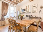 Oak dining table with seating for six
