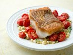Red snapper filet with roasted tomatoe/orzo salad