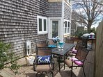Doors from the dining area open up to back patio which offers a gas grill & table for dining - 11 Oyster Drive Chatham ...