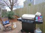 Gas grill on patio- ittle peaks of the water from the patio - 11 Oyster Drive Chatham Cape Cod New England Vacation ...
