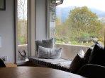 Kitchen window seat looking onto the mountains
