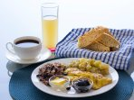 Typical Nicaraguan breakfast, with home made bread. One available choice.