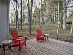 During pleasant weather, spend time on the back deck and enjoy tranquility and fresh air.