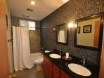 Guest bathroom, upper/main level, Unit 5 Lot 133, dog friendly Pine Mountain Lake vacation rental Cloon Brook