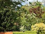 Mature gardens surround the house.