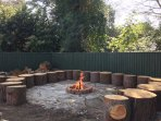 Firepit area with seating for all guests to enjoy toasting marshmallows or having a singalong!
