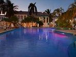 Both pools light up at night...