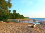 Public beach in Port Albert, Ontario.  a 6-8 minute walk from the cottage.  Or drive and park free.