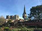 Beautiful Chichester Cathedral viewed from Bishop's Palace gardens.