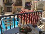 Lunch on terrace with canopy open or closed